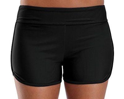 attraco damen bikinihose kurze badeshorts schwimmhose einfarbige bikinihose schwarz l ocarlla. Black Bedroom Furniture Sets. Home Design Ideas